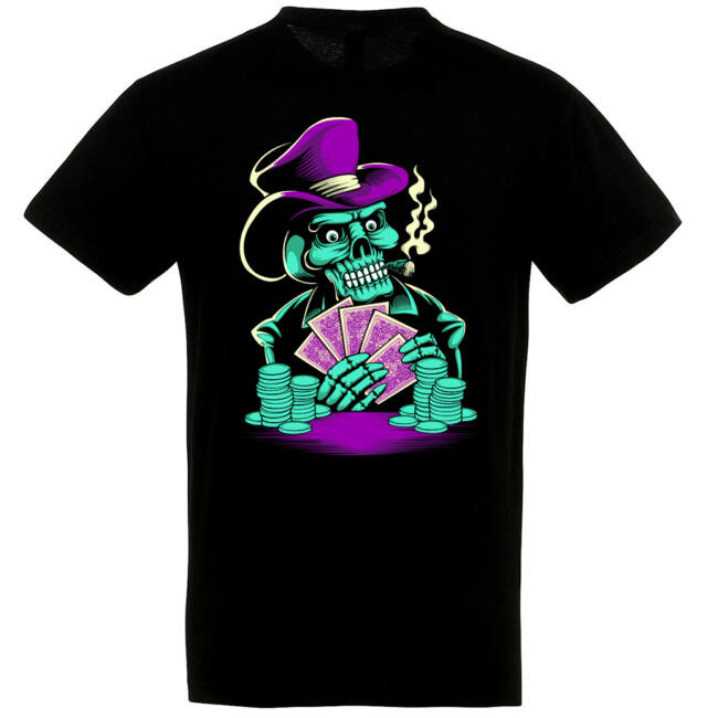 Skeleton Poker fekete póló