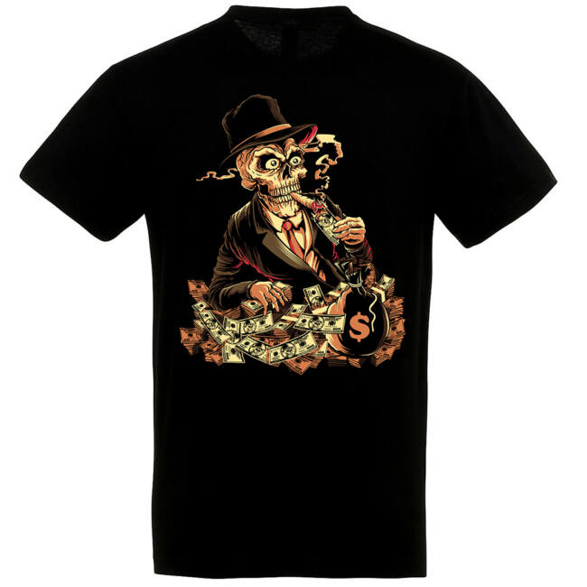 Skeleton banker fekete póló