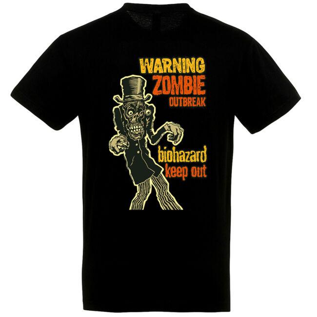 Warning! Zombie Outbreak fekete póló