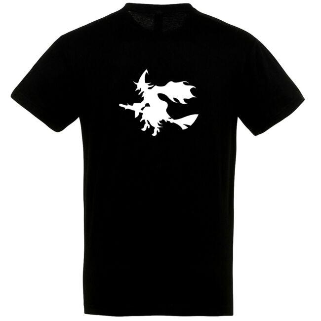 Boszorkány mintás Halloween póló fekete