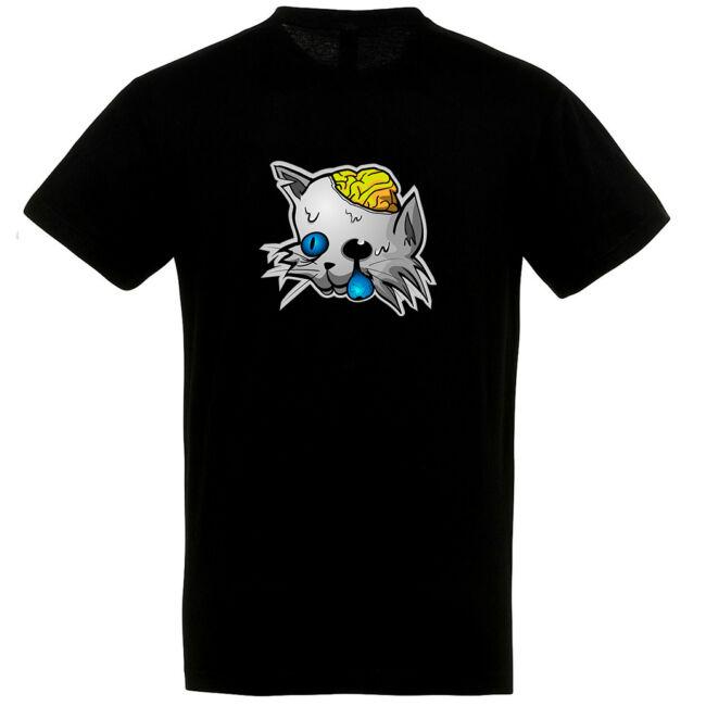 Zombi macska mintás Halloween póló fekete