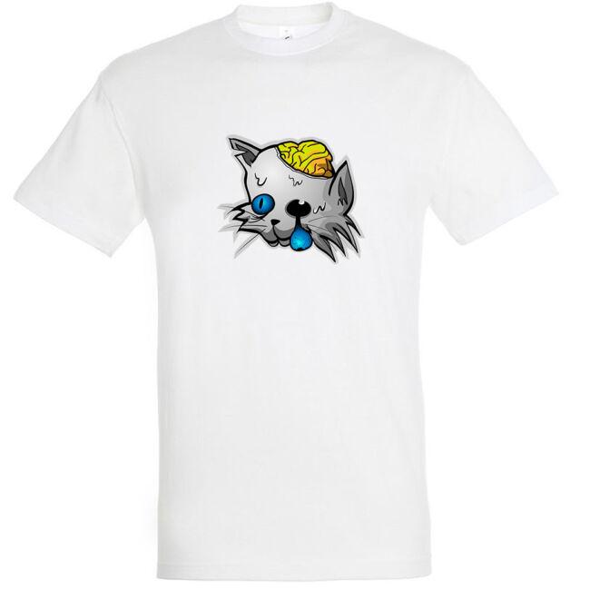 Zombi macska mintás Halloween póló fehér színben