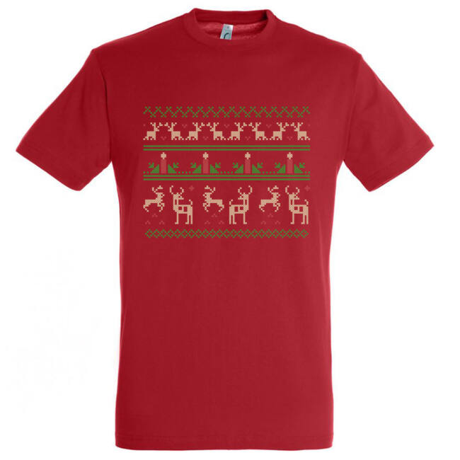 Szövött mintás karácsonyi póló piros színben