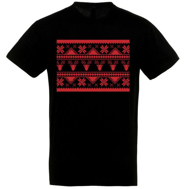 Szövött mintás karácsonyi póló II. fekete színben