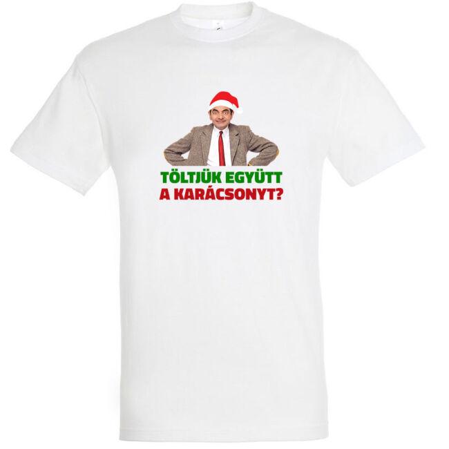Töltjük együtt a karácsonyt? póló fehér színben