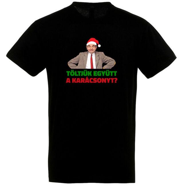 Töltjük együtt a karácsonyt? póló fekete színben