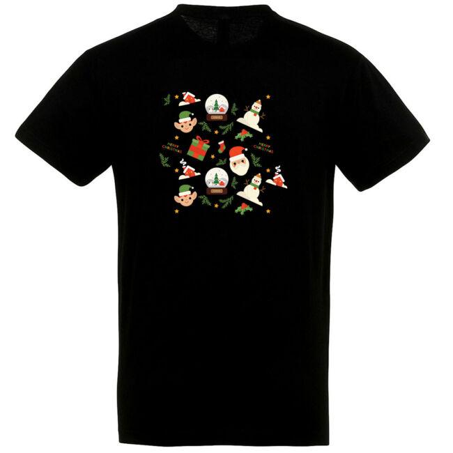Manós karácsonyi póló fekete színben
