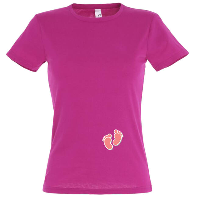 Apró lány talpak mintás női póló fuchsia színben