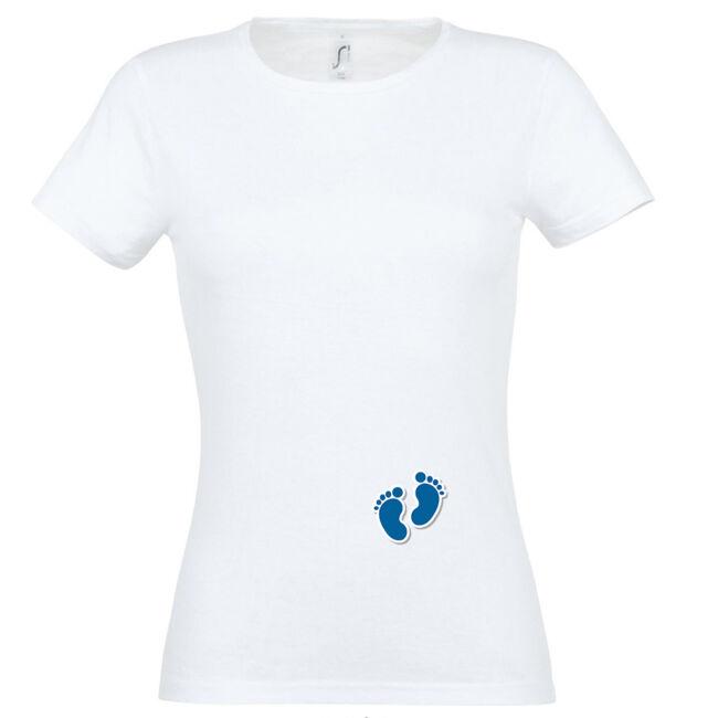 Apró fiú talpak mintás női póló fehér színben