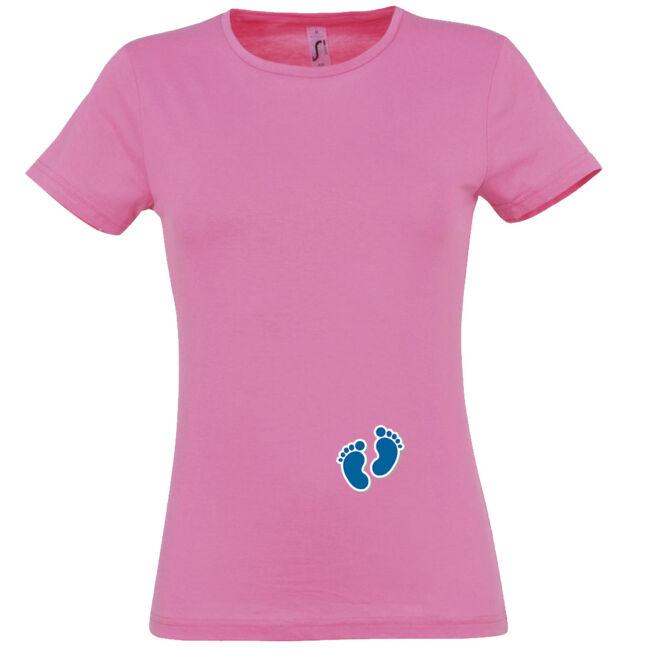 Apró fiú talpak mintás női póló rózsaszín színben