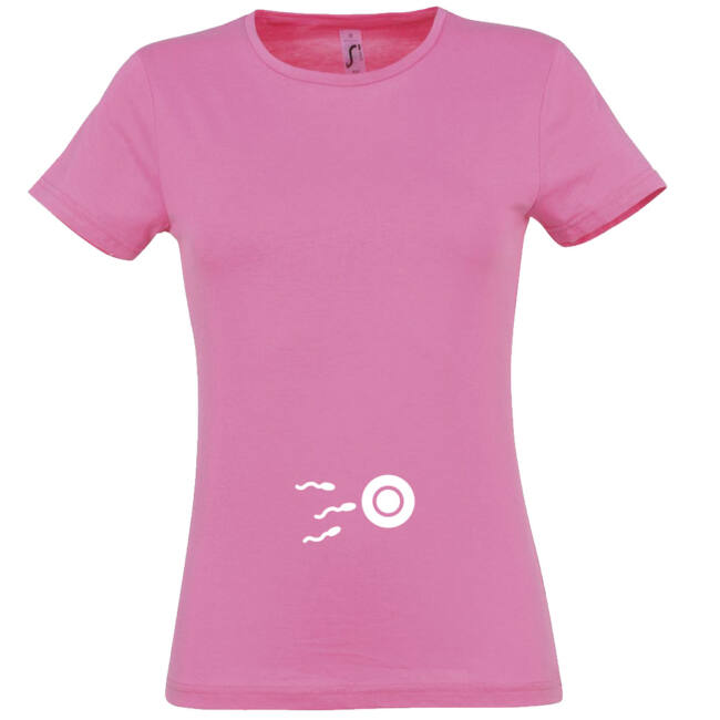 Kis spermium mintás női póló rózsaszín színben