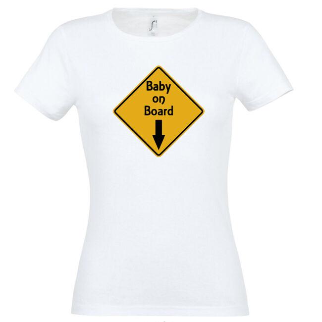 Baby On Board mintás női póló fehér színben
