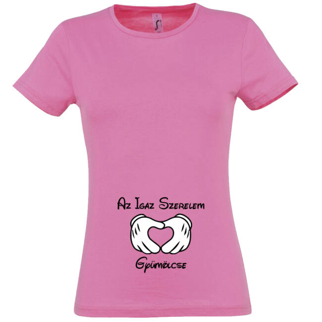 Az Igaz Szerelem Gyümölcse mintás női póló rózsaszín színben