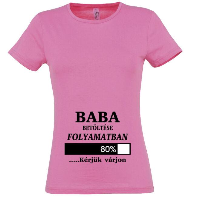 Baba betöltése folyamatban mintás női póló rózsaszín színben
