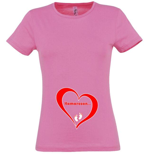 Hamarosan... mintás női póló rózsaszín színben