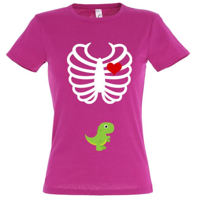 Dínó mintás női póló fuchsia színben