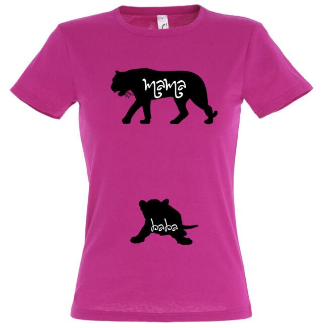 Mama, Baba tigris mintás női póló fuchsia színben