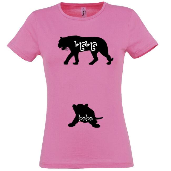 Mama, Baba tigris mintás női póló rózsaszín színben