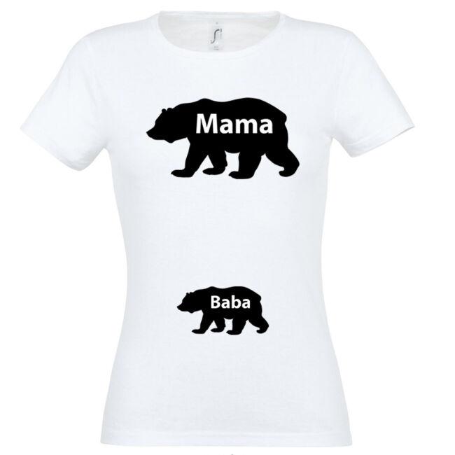 Mama, Baba maci mintás női póló fehér színben