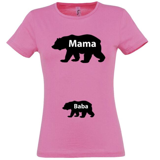 Mama, Baba maci mintás női póló rózsaszín színben