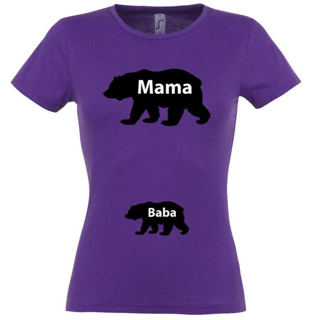 Mama, Baba maci mintás női póló sötétlila színben