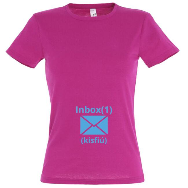 Kisfiú inbox mintás női póló fuchsia színben