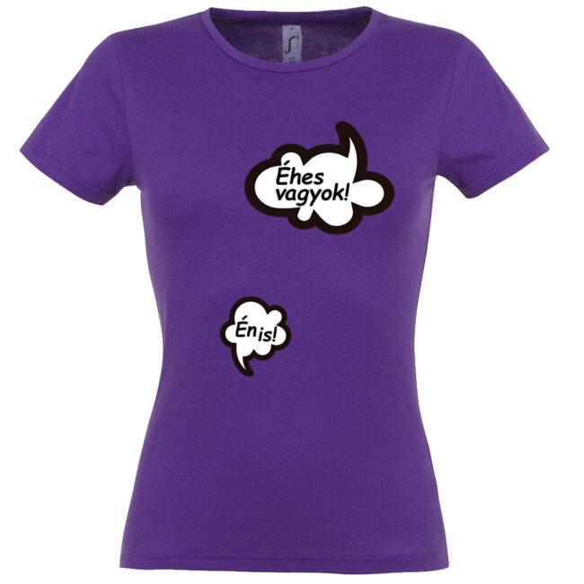 Éhes vagyok mintás női póló sötétlila színben