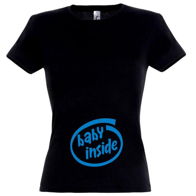 Baby Inside feliratú női póló , fekete színben