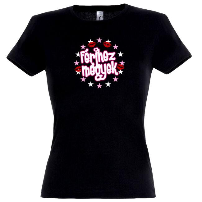 Férjhez megyek csillagos lánybúcsú póló fekete