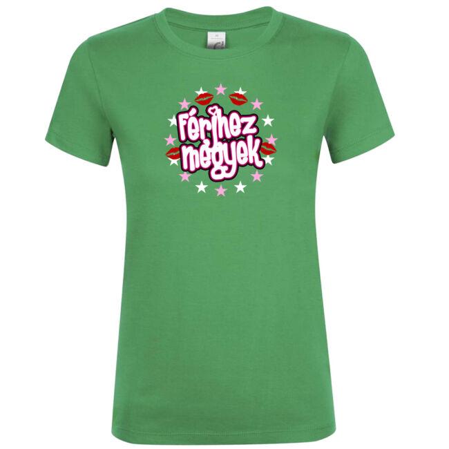 Férjhez megyek csillagos lánybúcsú póló kelly green