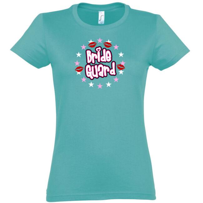 Bride Guard csillagos lánybúcsú póló fekete