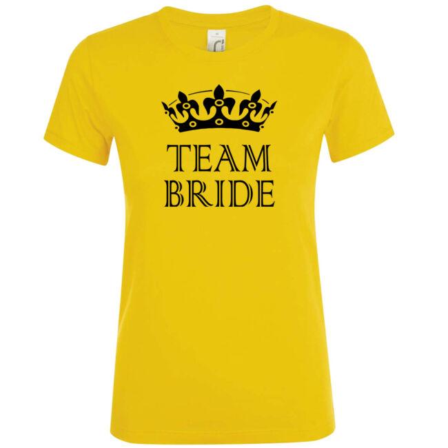Team Bride póló lánybúcsúra arany