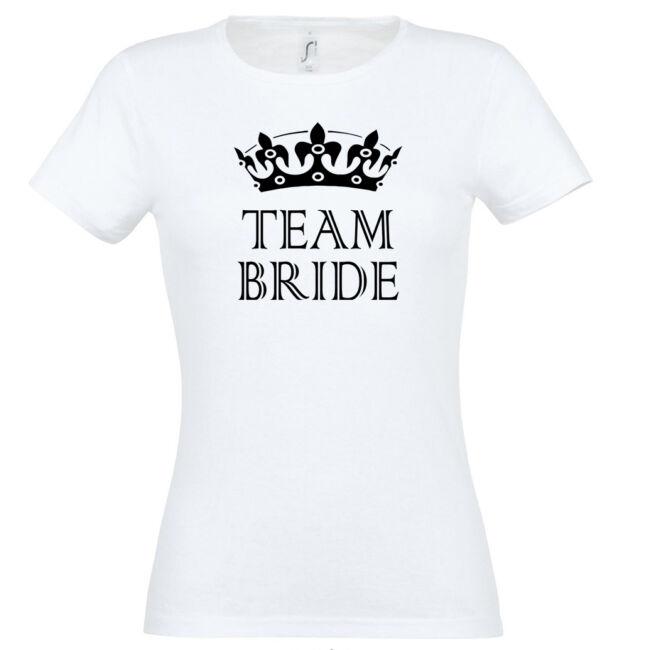 Team Bride póló lánybúcsúra fehér