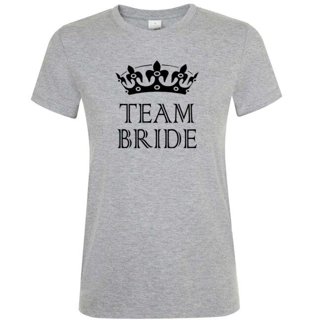 Team Bride póló lánybúcsúra grey melange