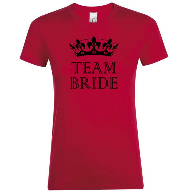 Team Bride póló lánybúcsúra piros