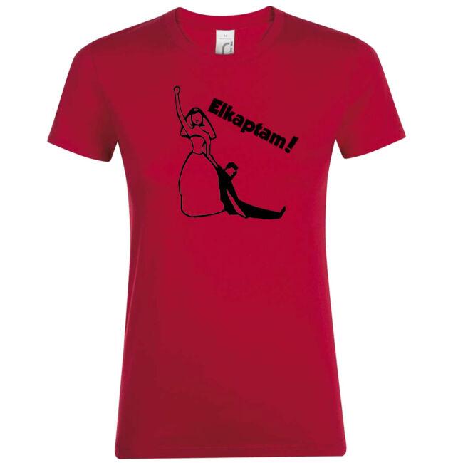 Elkaptam lánybúcsú póló piros színben
