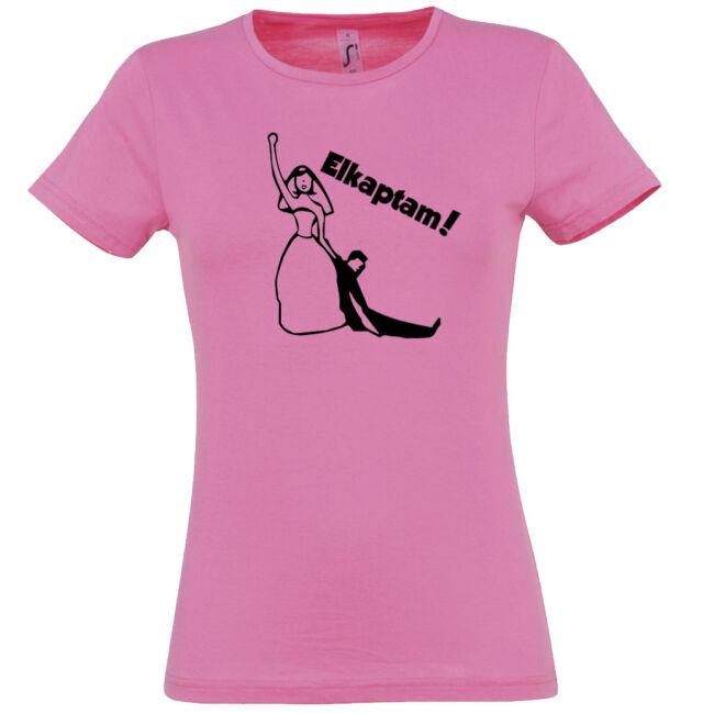 Elkaptam lánybúcsú póló rózsaszín színben