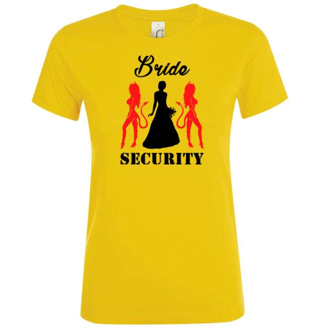 Bride Security póló lánybúcsúra arany színben