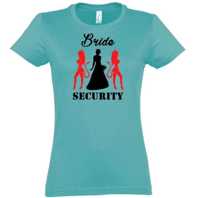 Bride Security póló lánybúcsúra carribean blue színben
