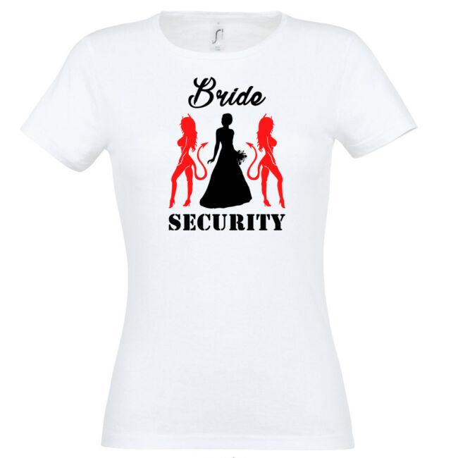 Bride Security ördögös póló lánybúcsúra fehér színben