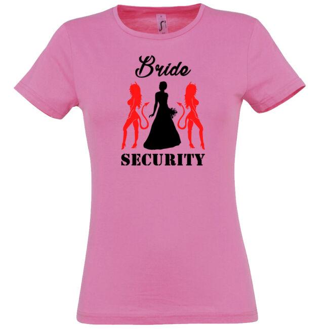Bride Security póló lánybúcsúra rózsaszín színben