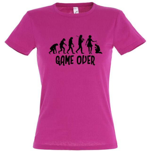 Game Over Evolúció I. lánybúcsú póló fuchsia
