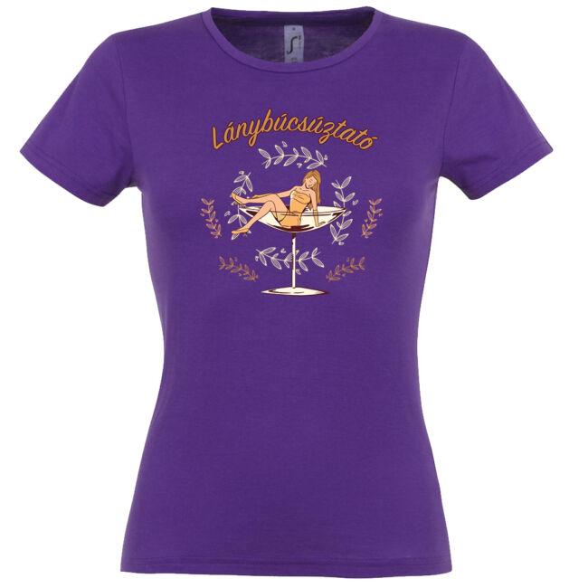 Lánybúcsúztató feliratos, hercegnő és pohár mintás póló több színben.