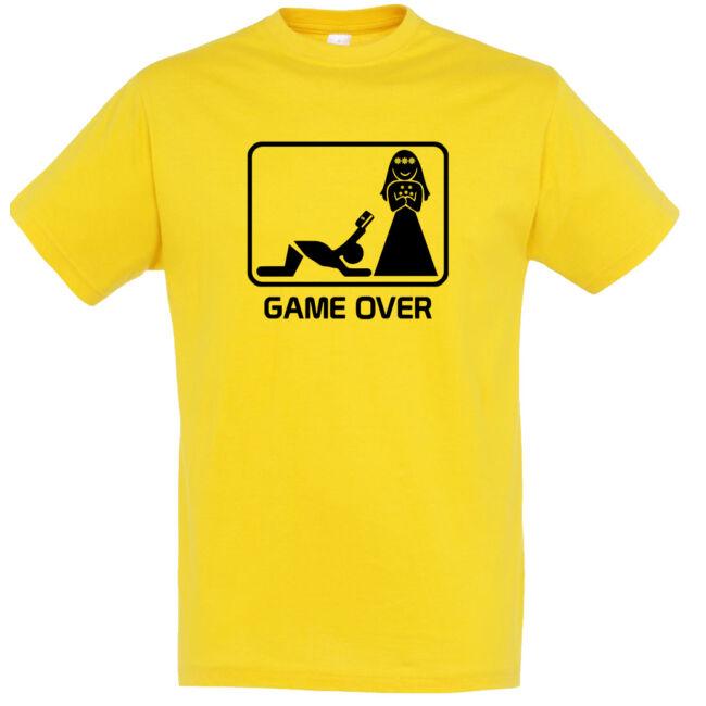 Game Over kártyás legénybúcsú póló arany