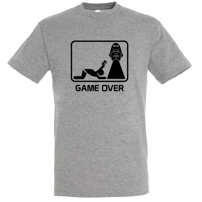 Game Over kártyás legénybúcsú póló grey melange