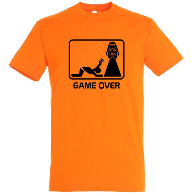 Game Over kártyás legénybúcsú póló narancssárga