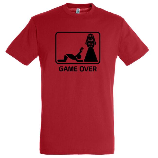 Game Over kártyás legénybúcsú póló piros