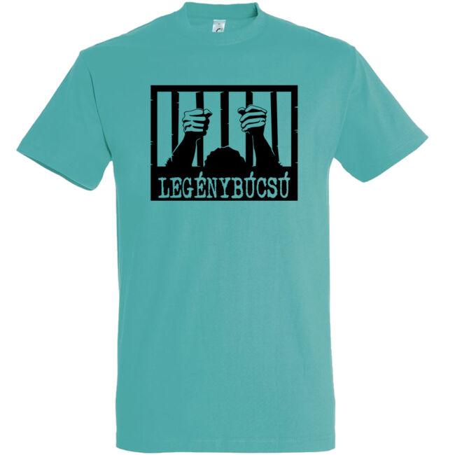 Börtön mintás legénybúcsú póló carribean blue