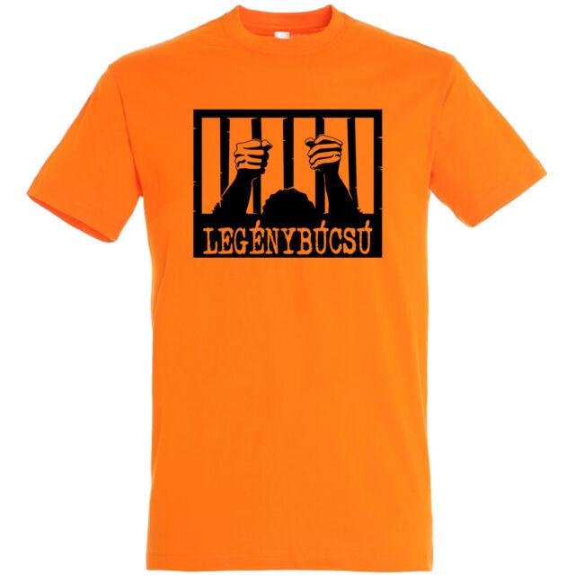 Börtön mintás legénybúcsú póló narancssárga