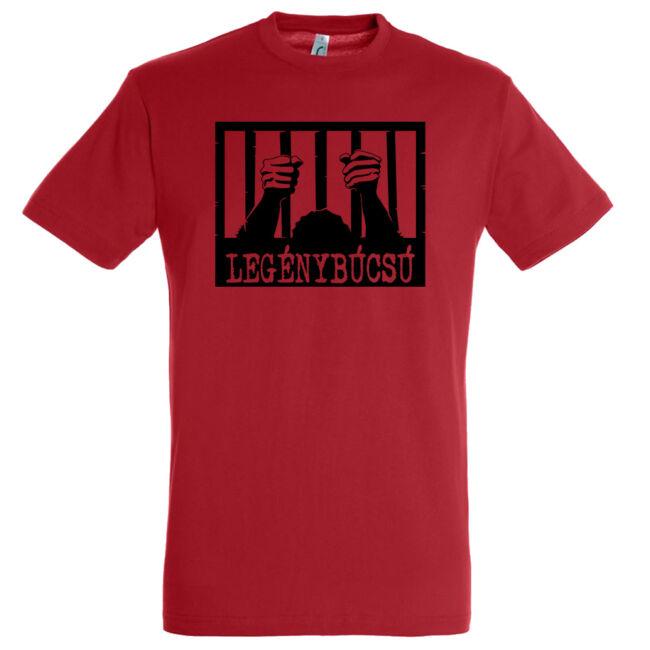 Börtön mintás legénybúcsú póló piros